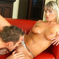 Christina Lee takes a spunk load on her tan tits